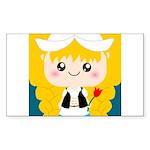 Cute Cartoon Girl from Holland Sticker (Rectangle)