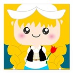 Cute Cartoon Girl from Holland Square Car Magnet 3