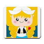 Cute Cartoon Girl from Holland Mousepad