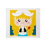 Cute Cartoon Girl from Holland Throw Blanket