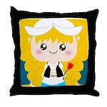 Cute Cartoon Girl from Holland Throw Pillow