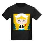 Cute Cartoon Girl from Holland Kids Dark T-Shirt