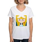 Cute Cartoon Girl from Holland Women's V-Neck T-Sh