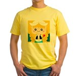 Cute Cartoon Girl from Holland Yellow T-Shirt