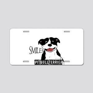 Smiling Pit Bull (Black and White) Aluminum Licens