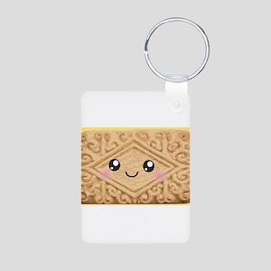 Cute Vanilla Cream Cookie Aluminum Photo Keychain
