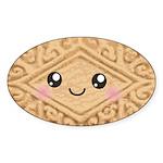 Cute Vanilla Cream Cookie Sticker (Oval)