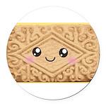 Cute Vanilla Cream Cookie Round Car Magnet