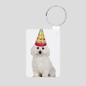 Bichon Frise Birthday Aluminum Photo Keychain