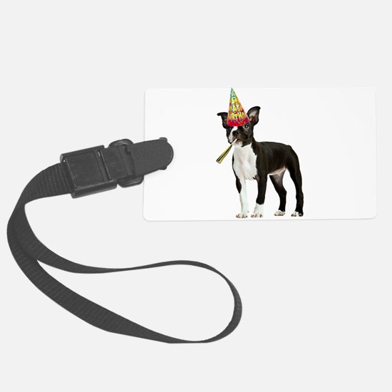 Boston Terrier Birthday Large Luggage Tag
