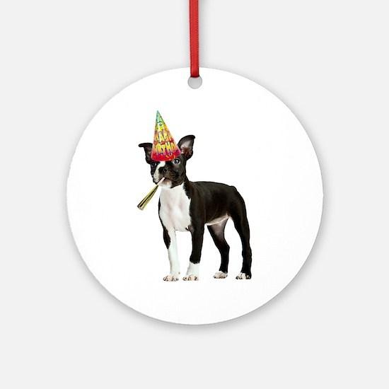 Boston Terrier Birthday Ornament (Round)