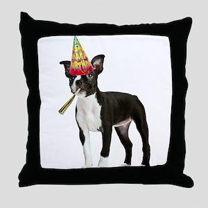 Boston Terrier Birthday Throw Pillow