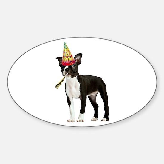 Boston Terrier Birthday Sticker (Oval)