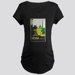 Vienna Travel Poster 1 Maternity Dark T-Shirt