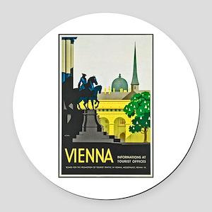 Vienna Travel Poster 1 Round Car Magnet
