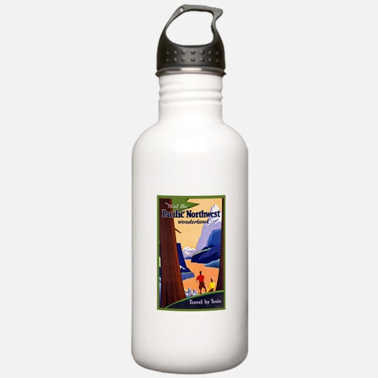 Pacific Northwest Travel Poster 2 Water Bottle