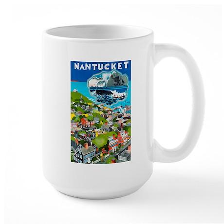 Massachusetts Travel Poster 1 Large Mug