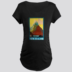 New Zealand Travel Poster 7 Maternity Dark T-Shirt