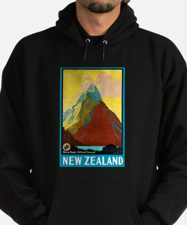 New Zealand Travel Poster 7 Hoodie (dark)