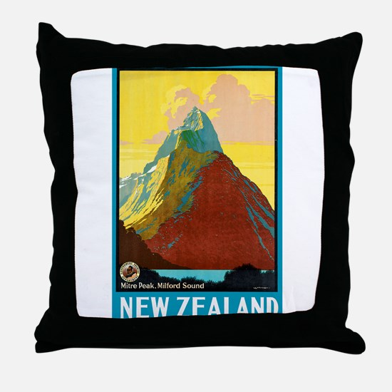 New Zealand Travel Poster 7 Throw Pillow