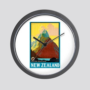 New Zealand Travel Poster 7 Wall Clock