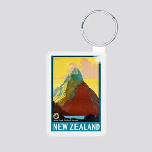 New Zealand Travel Poster 7 Aluminum Photo Keychai