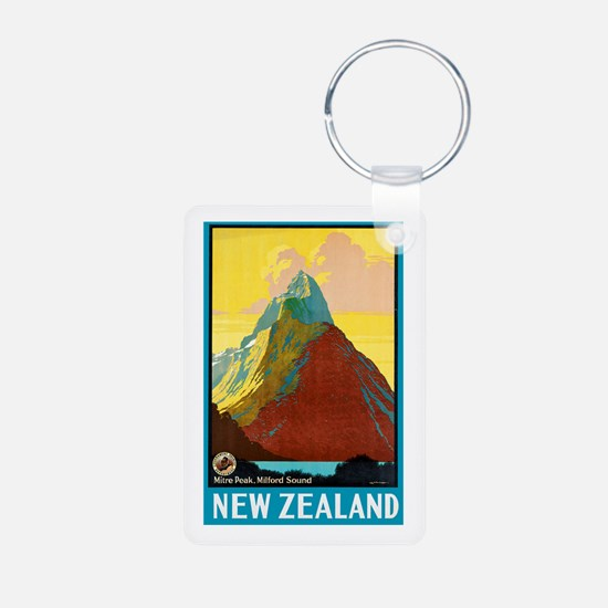 New Zealand Travel Poster 7 Aluminum Photo Keychai