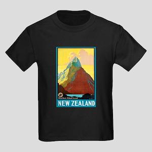 New Zealand Travel Poster 7 Kids Dark T-Shirt