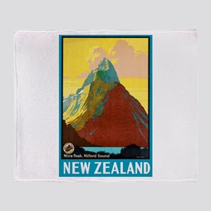 New Zealand Travel Poster 7 Throw Blanket