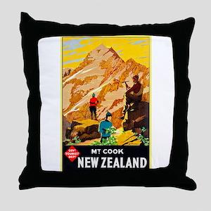 New Zealand Travel Poster 9 Throw Pillow
