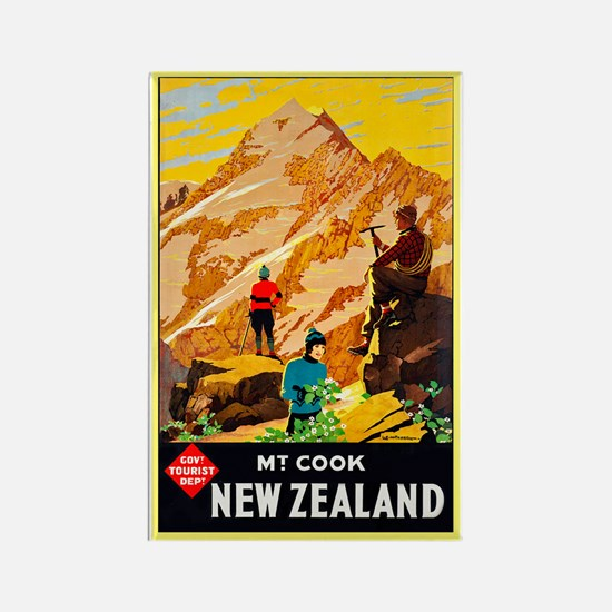 New Zealand Travel Poster 9 Rectangle Magnet