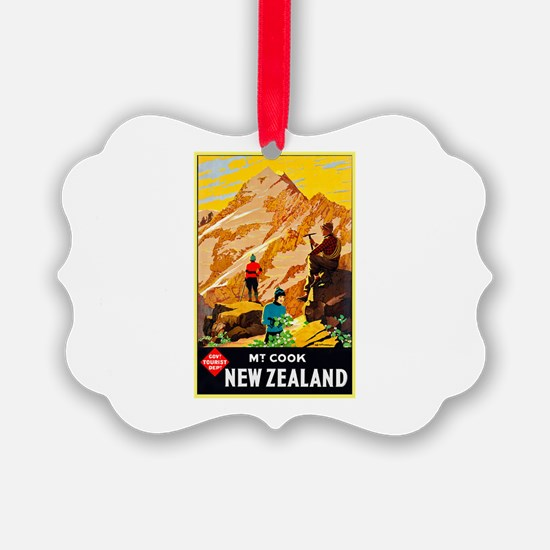 New Zealand Travel Poster 9 Ornament