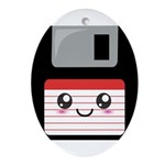 Cute Floppy Disk (Red) Ornament (Oval)