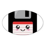 Cute Floppy Disk (Red) Sticker (Oval 50 pk)