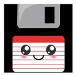 Cute Floppy Disk (Red) Square Car Magnet 3