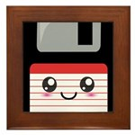 Cute Floppy Disk (Red) Framed Tile