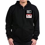 Cute Floppy Disk (Red) Zip Hoodie (dark)