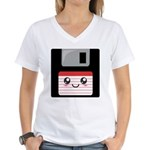 Cute Floppy Disk (Red) Women's V-Neck T-Shirt
