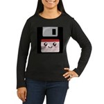 Cute Floppy Disk (Red) Women's Long Sleeve Dark T-