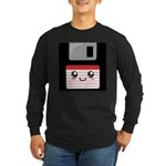Cute Floppy Disk (Red) Long Sleeve Dark T-Shirt