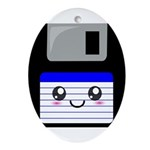 Kawaii Floppy Disk (Blue) Ornament (Oval)