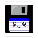 Kawaii Floppy Disk (Blue) Small Poster