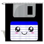 Kawaii Floppy Disk (Blue) Shower Curtain