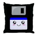 Kawaii Floppy Disk (Blue) Throw Pillow
