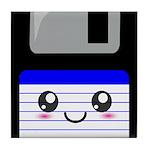 Kawaii Floppy Disk (Blue) Tile Coaster