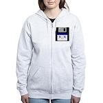 Kawaii Floppy Disk (Blue) Women's Zip Hoodie