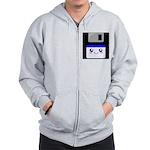 Kawaii Floppy Disk (Blue) Zip Hoodie