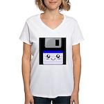 Kawaii Floppy Disk (Blue) Women's V-Neck T-Shirt