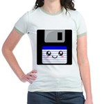 Kawaii Floppy Disk (Blue) Jr. Ringer T-Shirt