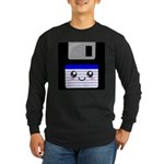 Kawaii Floppy Disk (Blue) Long Sleeve Dark T-Shirt